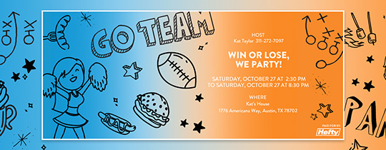 Win or Lose, We Party Invitation