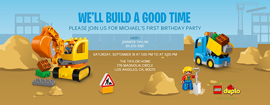 Construction Fun Invitation
