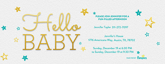 Hello Baby 18 Invitation