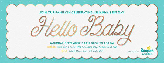Hello Baby Scallop Invitation