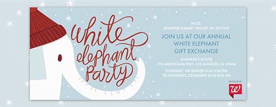 white elephant party invitation