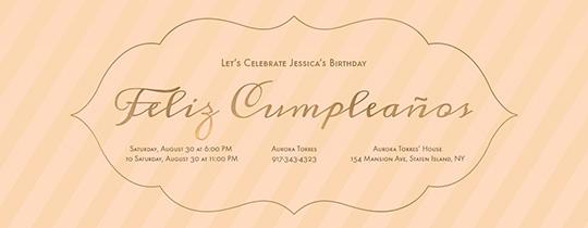Cumpleanos Stripes Invitation