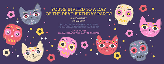 Day of the Cat Invitation