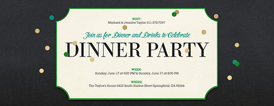 Dinner Party free online invitations – Dinner Invitation Template Free