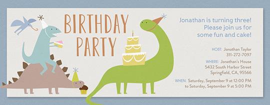 Dinosaur Birthday Invitation Free