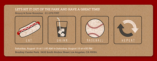 Eat Drink Baseball Repeat Invitation
