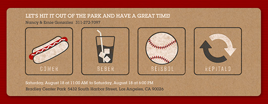 Eat, Drink, Baseball, Repeat Invitation