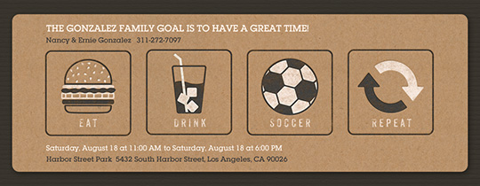 Eat Drink Soccer Repeat Invitation