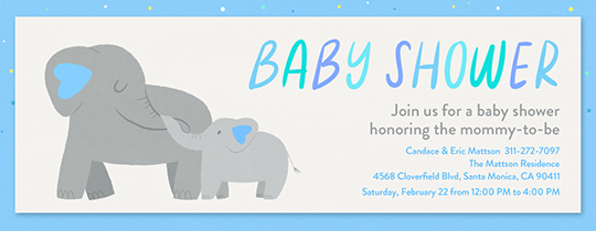 Elephant Baby Shower Blue Invitation