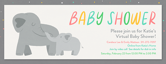Elephant Baby Shower Gray Invitation
