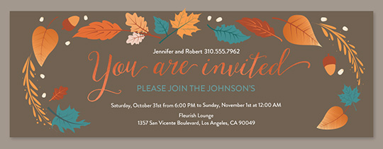 Free online invitations send invites by text evite free general design your own fall flora copper invitation filmwisefo