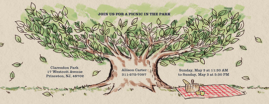 Family Tree Picnic Invitation