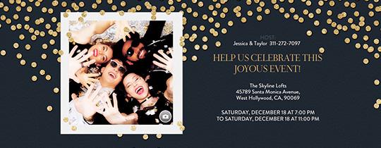 Online wedding anniversary invitation wrsvp tracker evite festive gold confetti black invitation stopboris Images