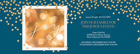 Gold Confetti Joy Blue Invitation