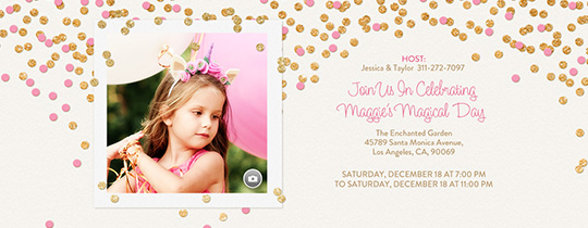 Festive Gold Confetti Pink Invitation