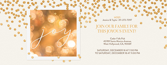 Gold Confetti Joy White Invitation