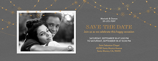 Festive Gold Stars Gray Save the Date Invitation