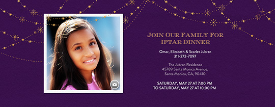 Festive Gold Star Purple Invitation
