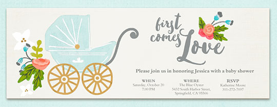 Free baby shower invitations evite first comes love invitation filmwisefo