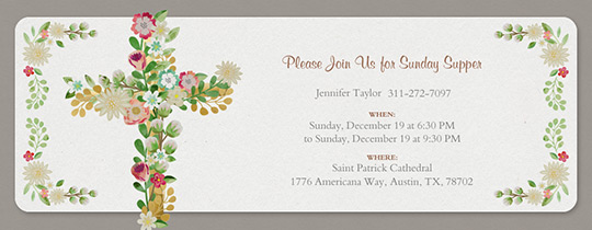 Online invitations for communion baptism more evite floral cross invitation filmwisefo