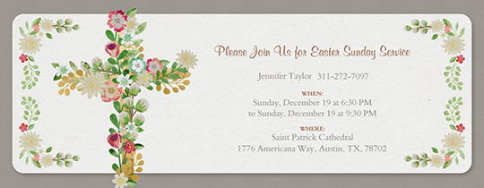 Floral Cross Easter Invitation