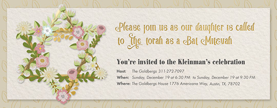 Floral Star of David Invitation
