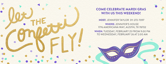 Flying Confetti Mardi Gras Invitation