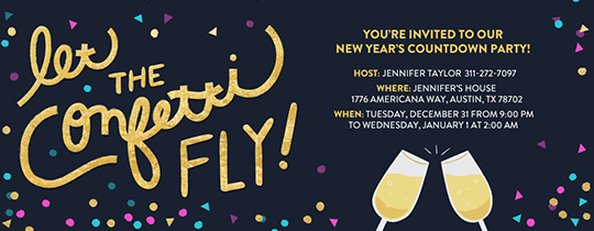 Flying Confetti New Year Invitation