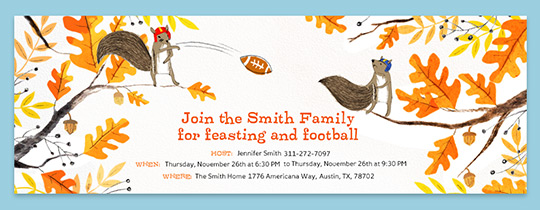Football Squirrels Invitation