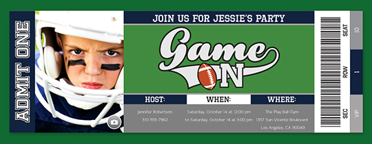 Game on Football Invitation