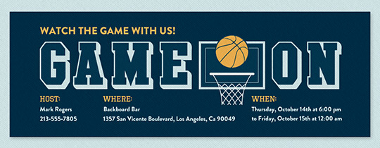 Game On Hoop Invitation