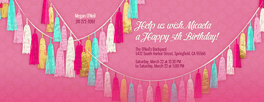 Garland Pink Invitation