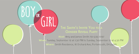Gender Reveal Balloons Invitation