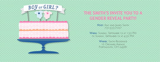 Gender Reveal Cake Invitation