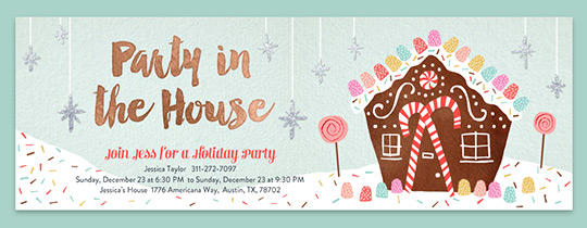 Holiday party invitations evite gingerbread party invitation stopboris Image collections