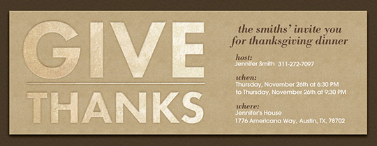 Give Thanks Letters Invitation