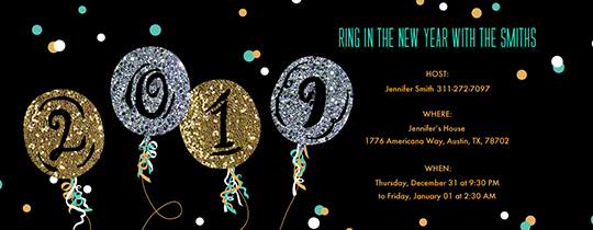 new year countdown glitter balloons nye invitation