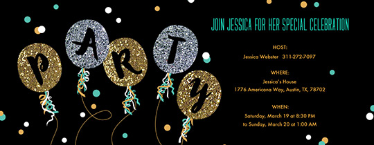 Glitter Balloons Party Invitation