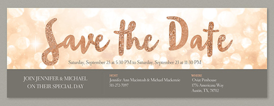glitter save the date invitation