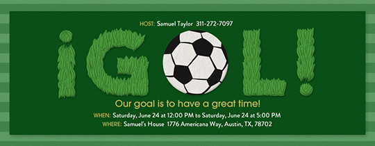 Goal Grass Invitation