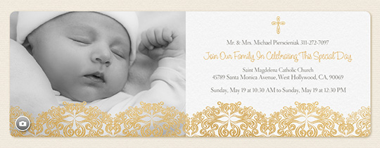 Online invitations for communion baptism more evite golden christening invitation stopboris Gallery