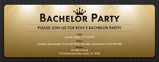 Free Online Bachelor Party Invitation with RSVP Evite – Stag Party Invitation