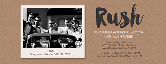 Greek Rush Invitation