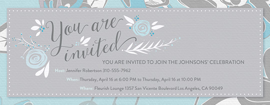 Grey Blue Floral Invitation
