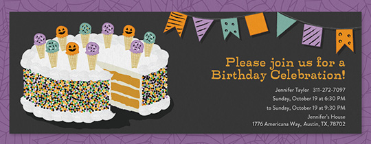 Halloween Birthday Cake Invitation