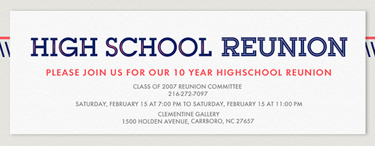 High School Reunion Type Invitation