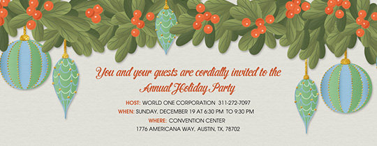 Holiday Party Ornaments Invitation