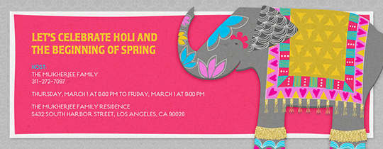 Holi Elephant Invitation