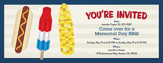Hot Dog and Corn Invitation