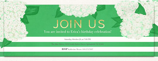 Hydrangea Stripe Invitation